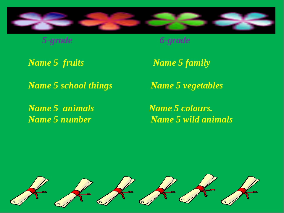 5-grade 6-grade Name 5 fruits Name 5 family Name 5 school things Name 5 vege...
