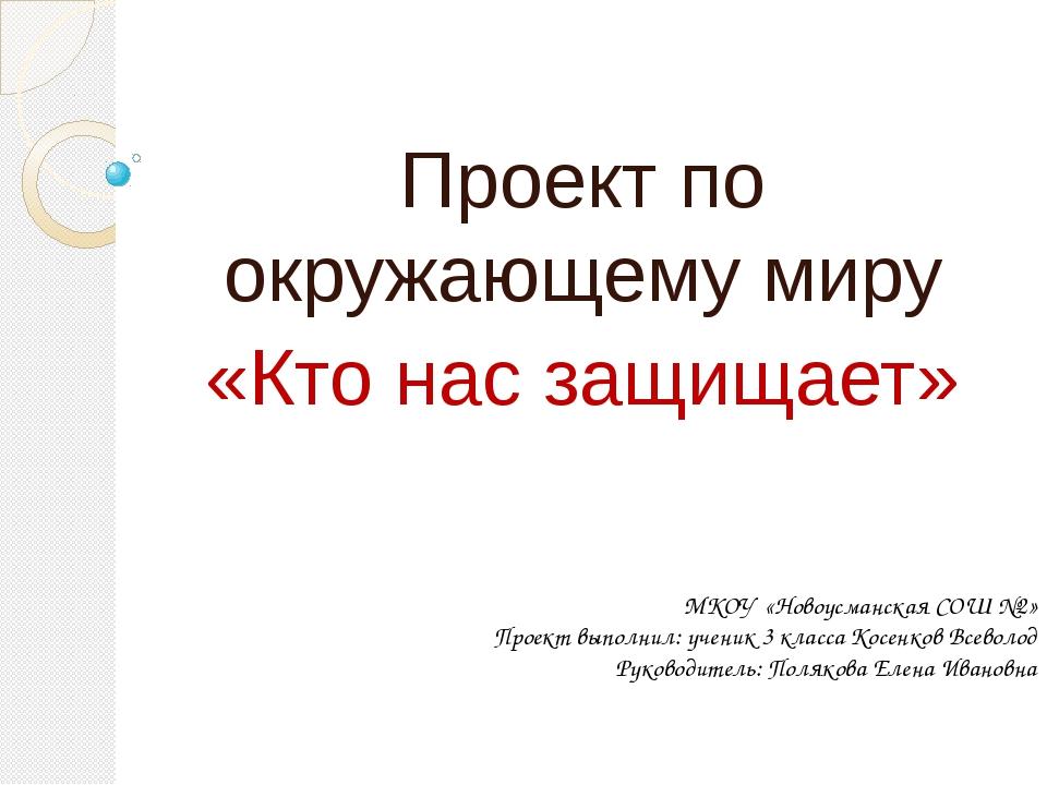 Проект по окружающему миру «Кто нас защищает» МКОУ «Новоусманская СОШ №2» Пр...