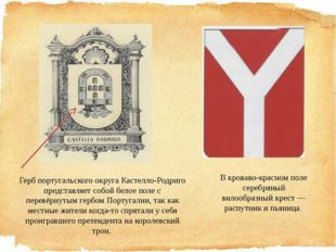 Герб португальского округа Кастелло-Родриго представляет собой белое поле с п