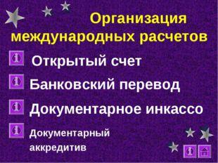 Организация международных расчетов Открытый счет Банковский перевод Документ