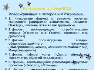 Контрагенты в сфере ВЭД Классификация Т.Питерса и Р.Уотермена 1.наукоемки
