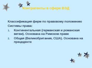 Контрагенты в сфере ВЭД Классификация фирм по правовому положению Системы пра