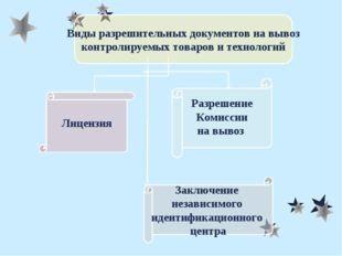 Виды разрешительных документов на вывоз контролируемых товаров и технологий