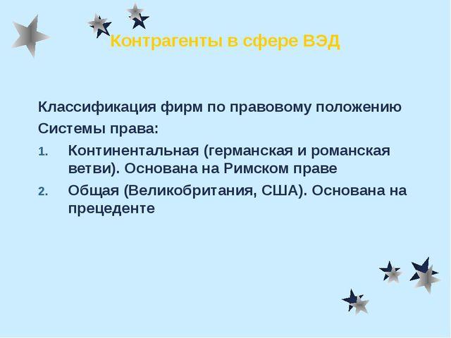 Контрагенты в сфере ВЭД Классификация фирм по правовому положению Системы пра...