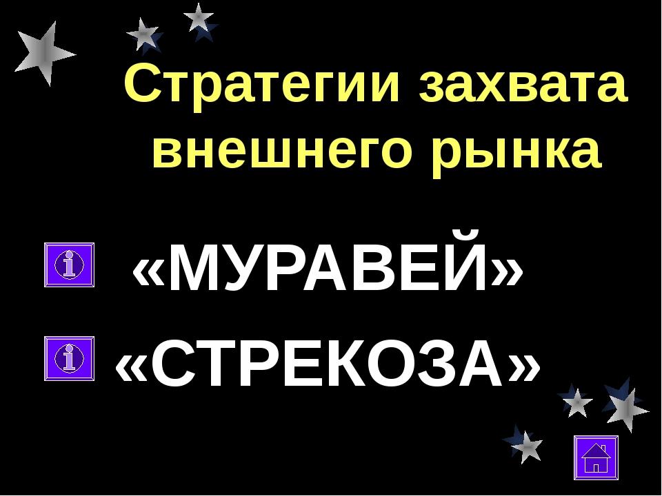 Стратегии захвата внешнего рынка «МУРАВЕЙ» «СТРЕКОЗА»