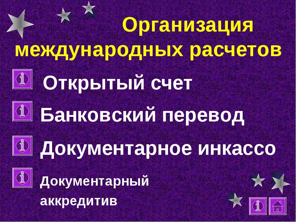 Организация международных расчетов Открытый счет Банковский перевод Документ...