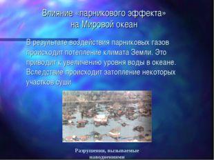 Влияние «парникового эффекта» на Мировой океан В результате воздействия парни