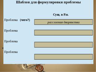 расслоения дворянства Шаблон для формулировки проблемы Сущ. в Р.п. Проблема(