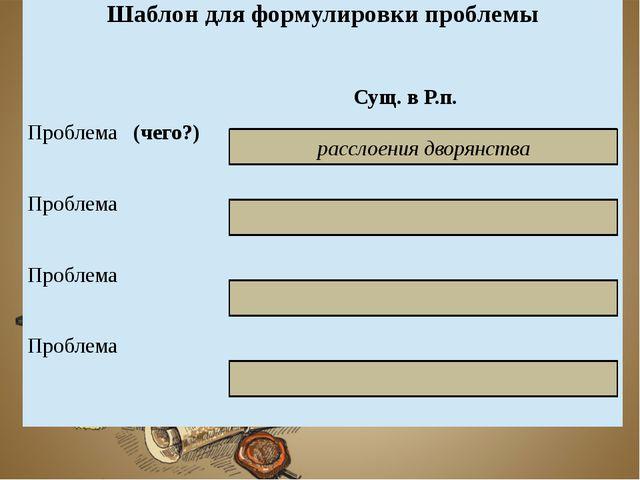 расслоения дворянства Шаблон для формулировки проблемы Сущ. в Р.п. Проблема(...