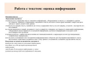 Работа с текстом: оценка информации Основная школа Выпускник научится отклика