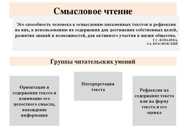 Смысловое чтение Ориентация в содержании текста и понимание его целостного см...