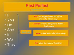 Past Perfect (negative form) I You He She It We They had not gone to bed when