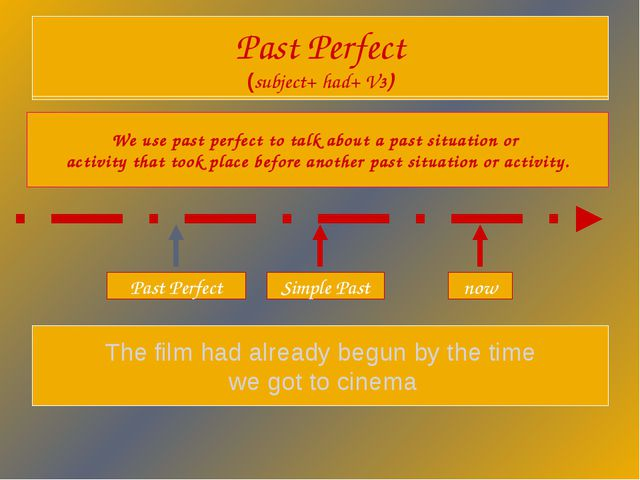 Past Perfect (subject+ had+ V3) We use past perfect to talk about a past situ...