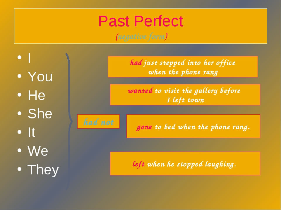 Past Perfect (negative form) I You He She It We They had not gone to bed when...