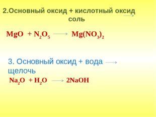 2.Основный оксид + кислотный оксид соль MgO + N2O5 Mg(NO3)2 3. Основный оксид
