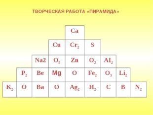 ТВОРЧЕСКАЯ РАБОТА «ПИРАМИДА» Ca Cu Cr2 S Na2 O5 Zn O2 AI2 Ве Mg О Fe2 O3 P2