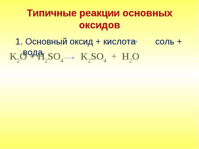 Типичные реакции основных оксидов 1. Основный оксид + кислота соль + вода K2O...
