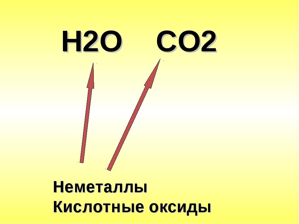Н2О СО2 Неметаллы Кислотные оксиды