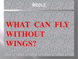 RIDDLE WHAT CAN FLY WITHOUT WINGS?