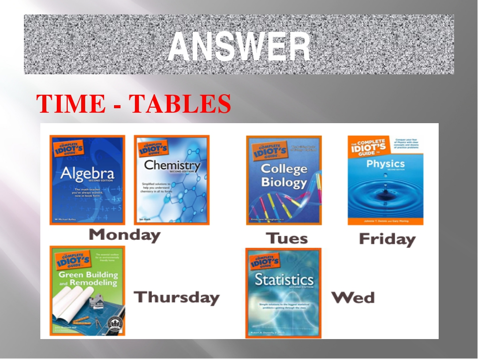 ANSWER TIME - TABLES