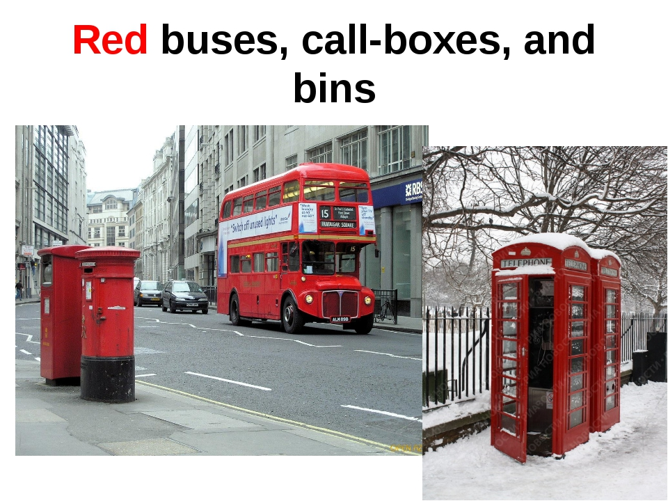 Red buses, call-boxes, and bins