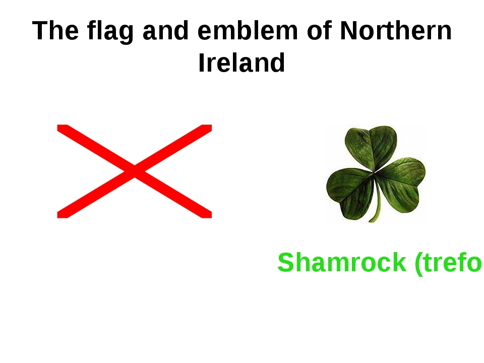 The flag and emblem of Northern Ireland Shamrock (trefoil)
