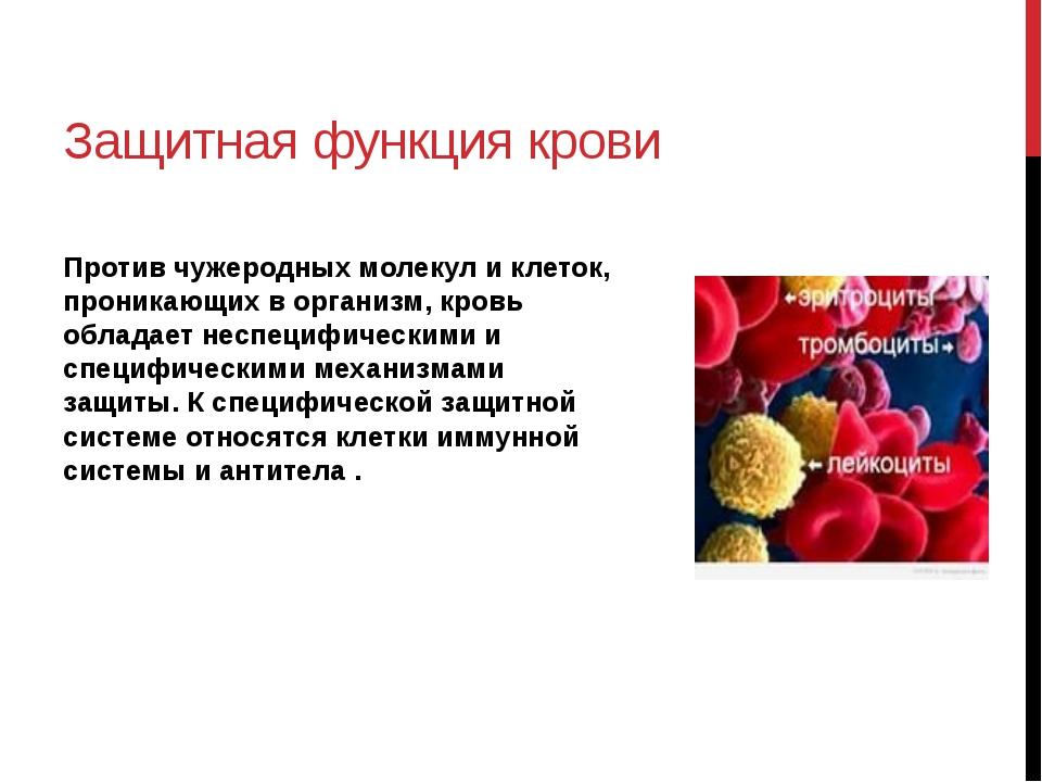 Защитная функция крови Против чужеродных молекул и клеток, проникающих в орга...