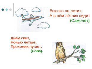Высоко он летит, А в нём лётчик сидит (Самолёт) Днём спит, Ночью летает, Прох