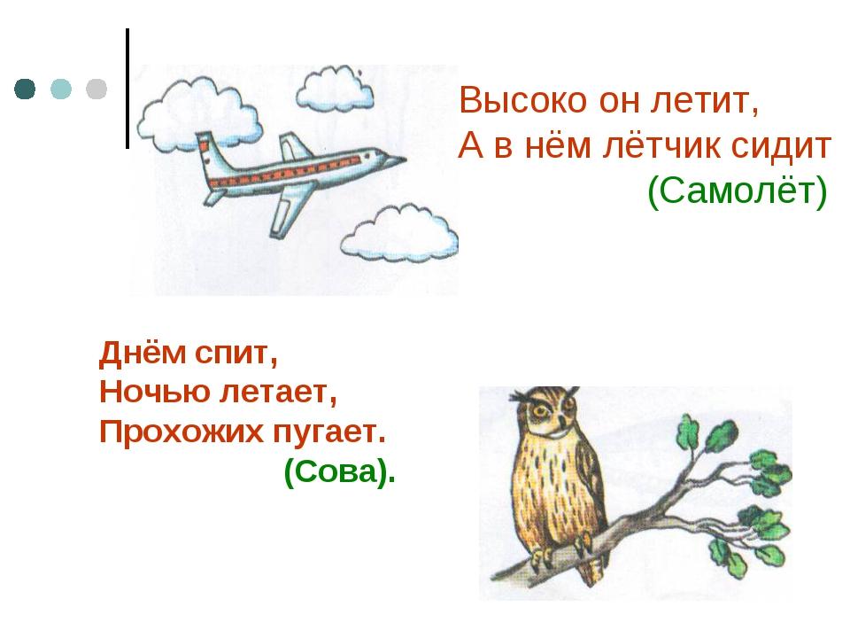 Высоко он летит, А в нём лётчик сидит (Самолёт) Днём спит, Ночью летает, Прох...