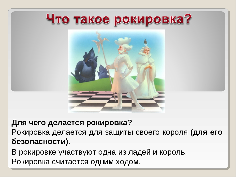 Для чего делается рокировка? Рокировка делается для защиты своего короля (для...