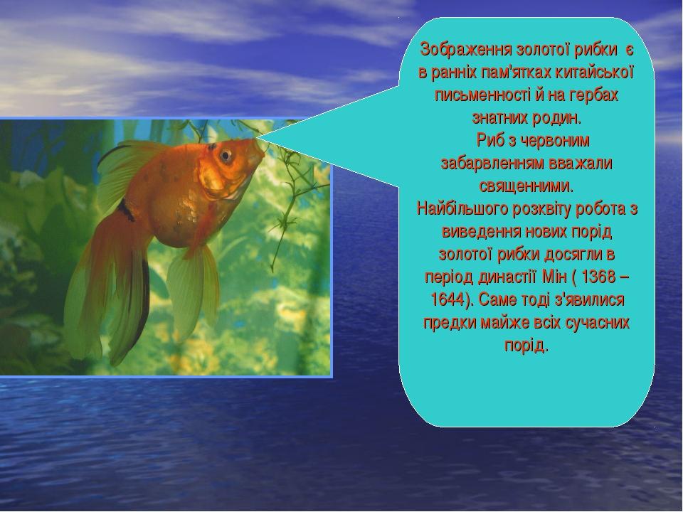Зображення золотої рибки є в ранніх пам'ятках китайської письменності й на ге...