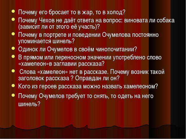 Почему его бросает то в жар, то в холод? Почему Чехов не даёт ответа на вопро...