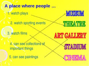 A place where people … 1. watch plays 2. watch sporting events 3. watch films