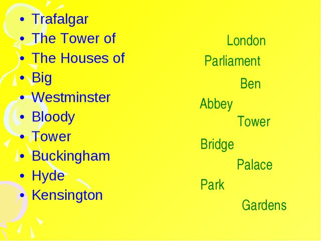 Trafalgar The Tower of The Houses of Big Westminster Bloody Tower Buckingham...