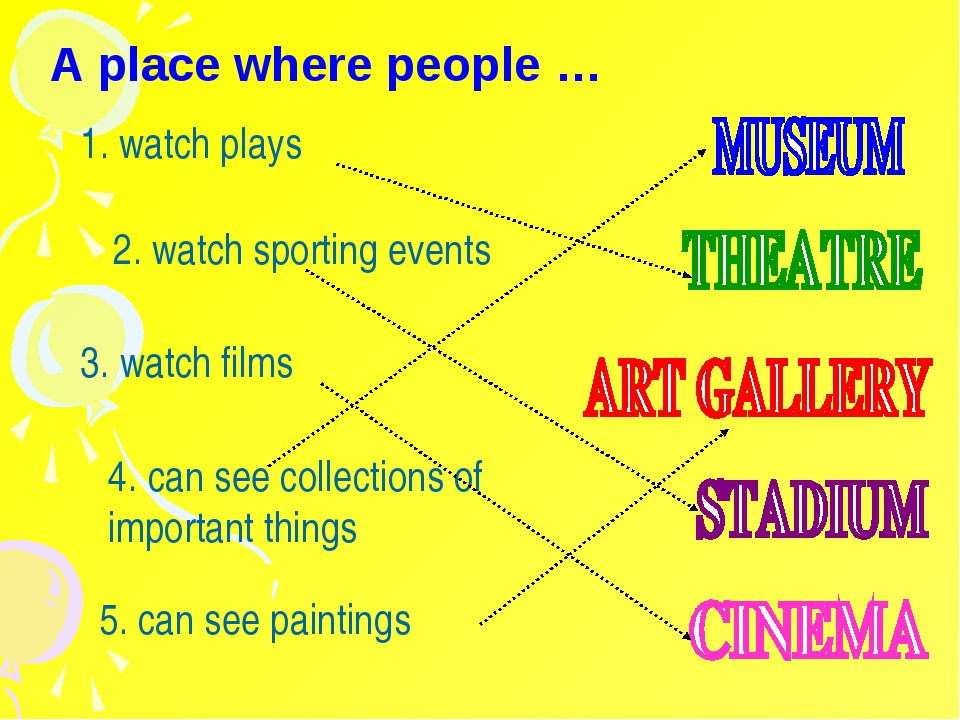 A place where people … 1. watch plays 2. watch sporting events 3. watch films...