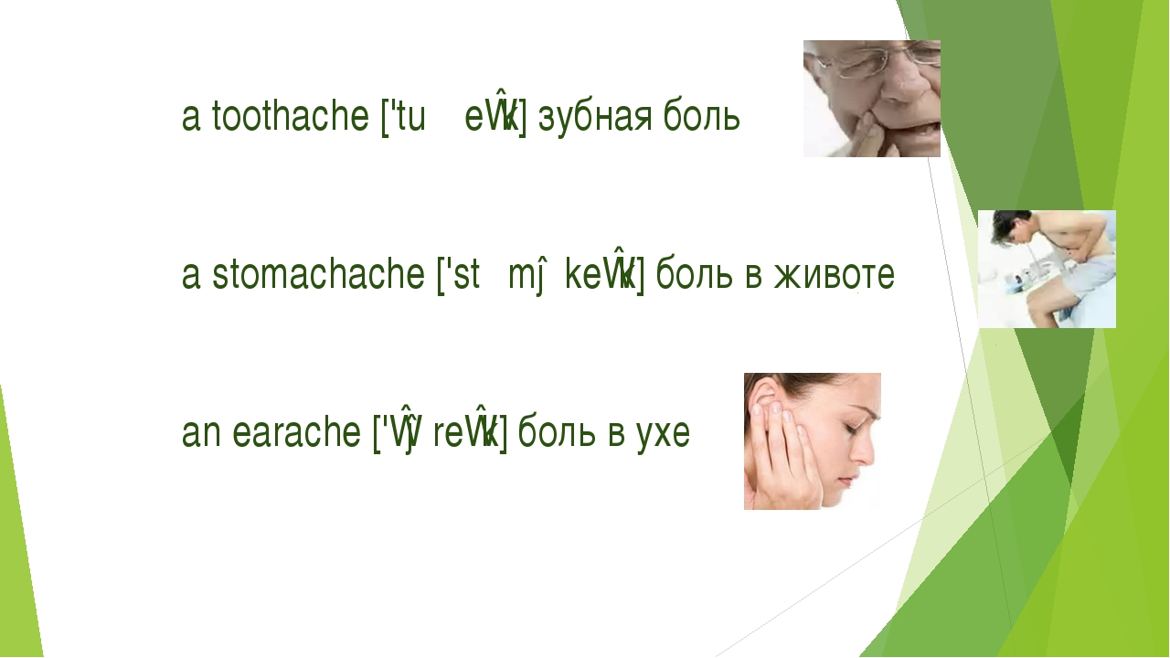 a toothache ['tuːθeɪk] зубная боль a stomachache ['stʌməkeɪk] боль в животе a...