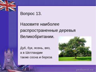 Вопрос 13. Назовите наиболее распространенные деревья Великобритании. Дуб, бу