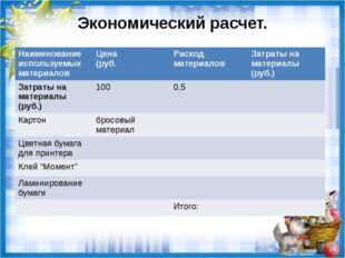 Экономический расчет. Наименование используемых материалов Цена (руб. Расход