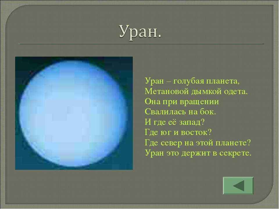 Уран – голубая планета, Метановой дымкой одета. Она при вращении Свалилась на...