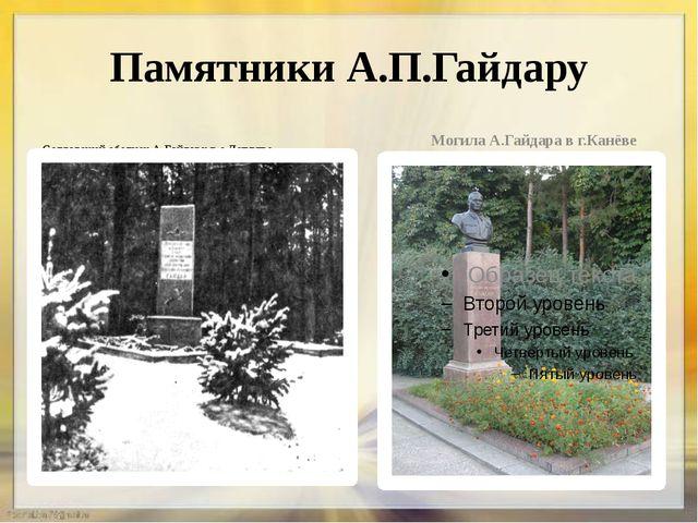 Памятники А.П.Гайдару Солдатский обелиск А.Гайдару в с.Лепляве Могила А.Гайда...