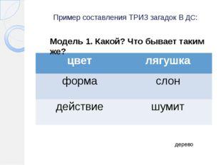 Пример составления ТРИЗ загадок В ДС: дерево Модель 1. Какой? Что бывает таки