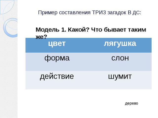 Пример составления ТРИЗ загадок В ДС: дерево Модель 1. Какой? Что бывает таки...