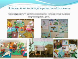 Новизна личного вклада в развитие образования Новизна присутствует в изготовл