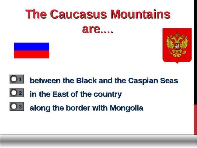 The Caucasus Mountains are.... between the Black and the Caspian Seas in the...