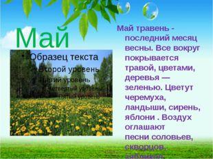 Май Май травень - последний месяц весны. Все вокруг покрывается травой, цвета