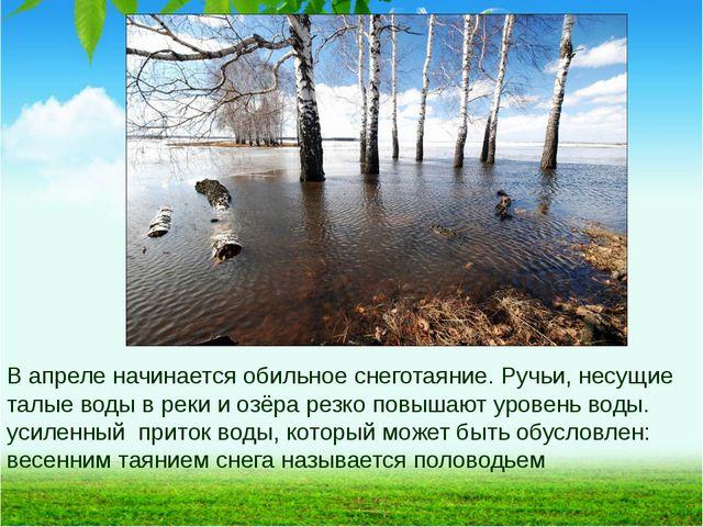 В апреле начинается обильное снеготаяние. Ручьи, несущие талые воды в реки и...