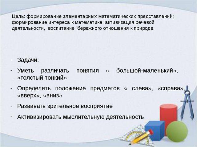 Цель: формирование элементарных математических представлений; формирование ин...