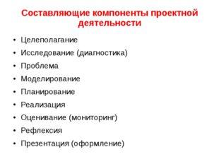 Составляющие компоненты проектной деятельности Целеполагание Исследование (ди