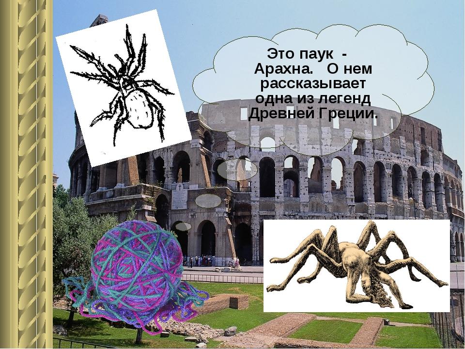 Это паук - Арахна. О нем рассказывает одна из легенд Древней Греции.