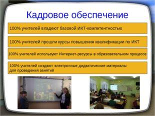 Кадровое обеспечение 100% учителей владеют базовой ИКТ-компетентностью 100% у
